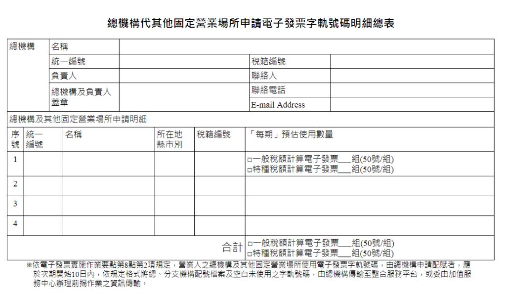 總機構代其他固定營業場所申請電子發票字軌號碼明細總表