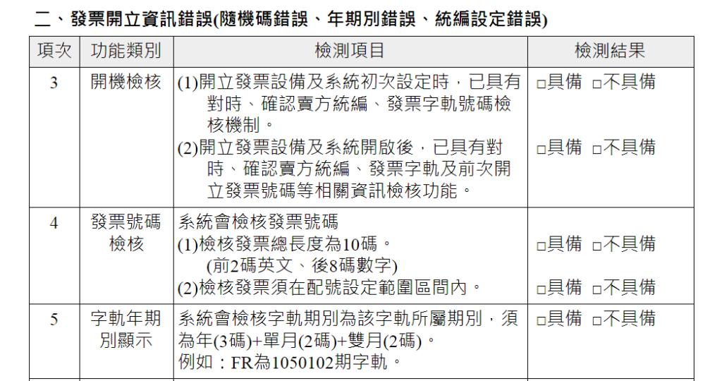 電子發票開立系統自行檢測表